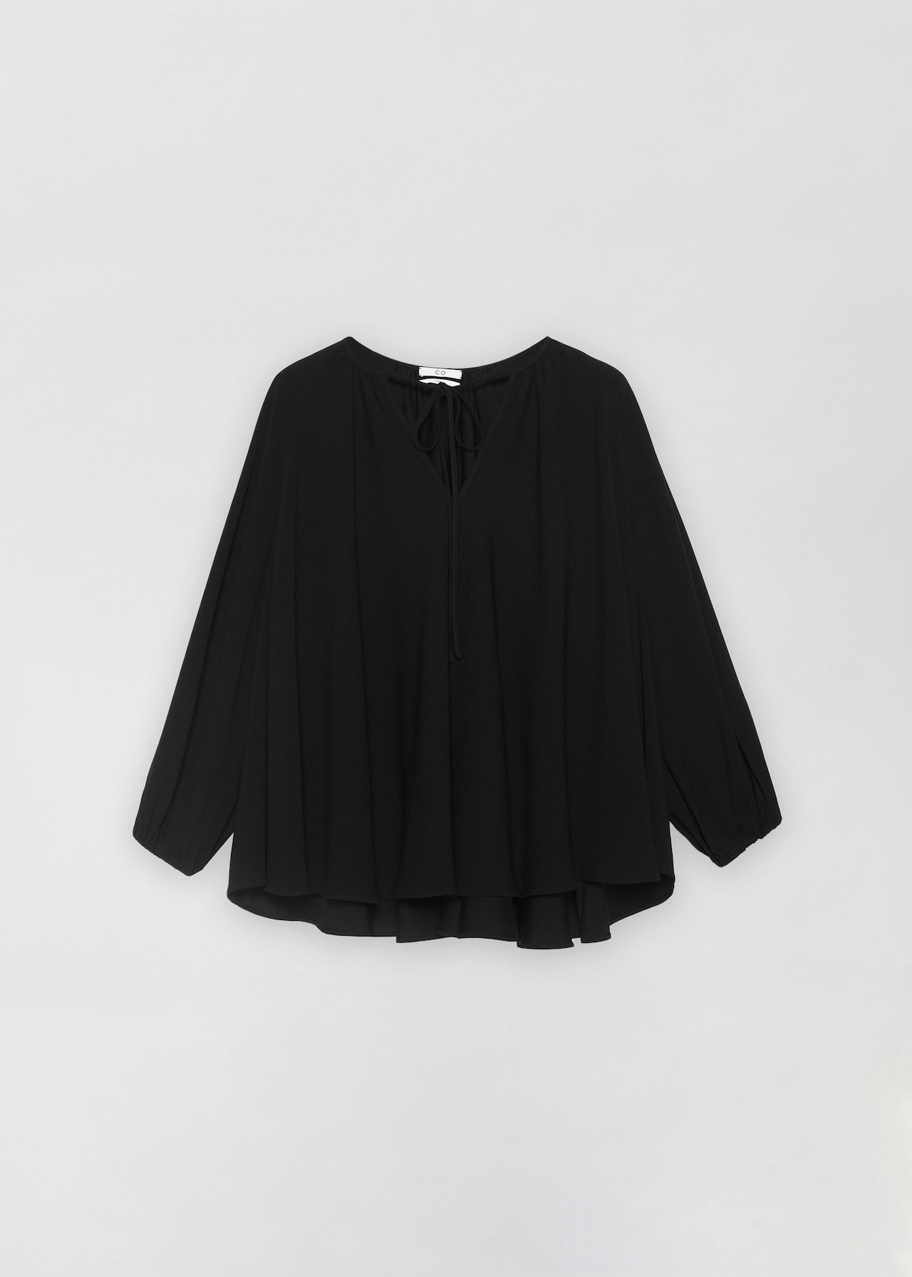 Peasant Blouse in Stretch Crepe - Black - CO