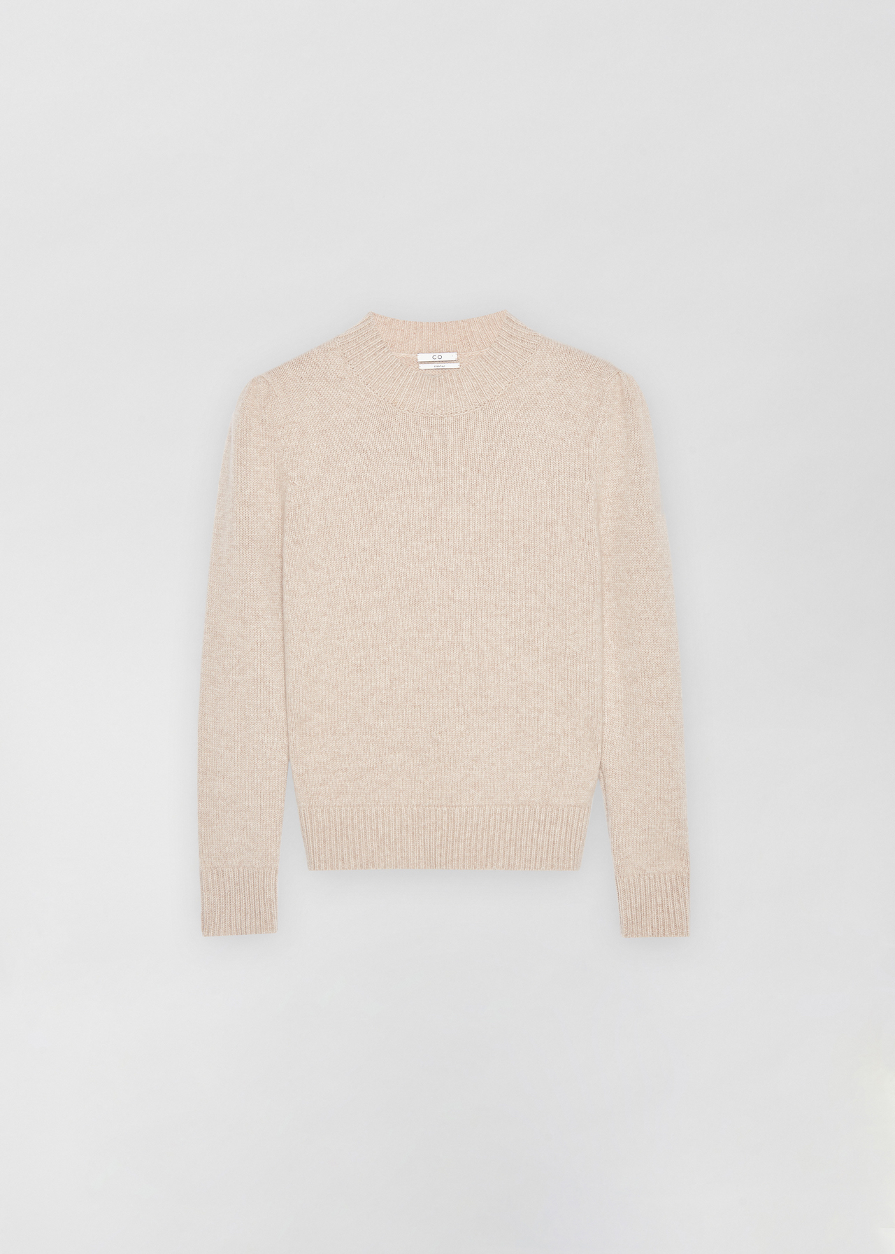 Ruched Cashmere Crew Neck Sweater - Light Grey in Sand Melange by Co Collections