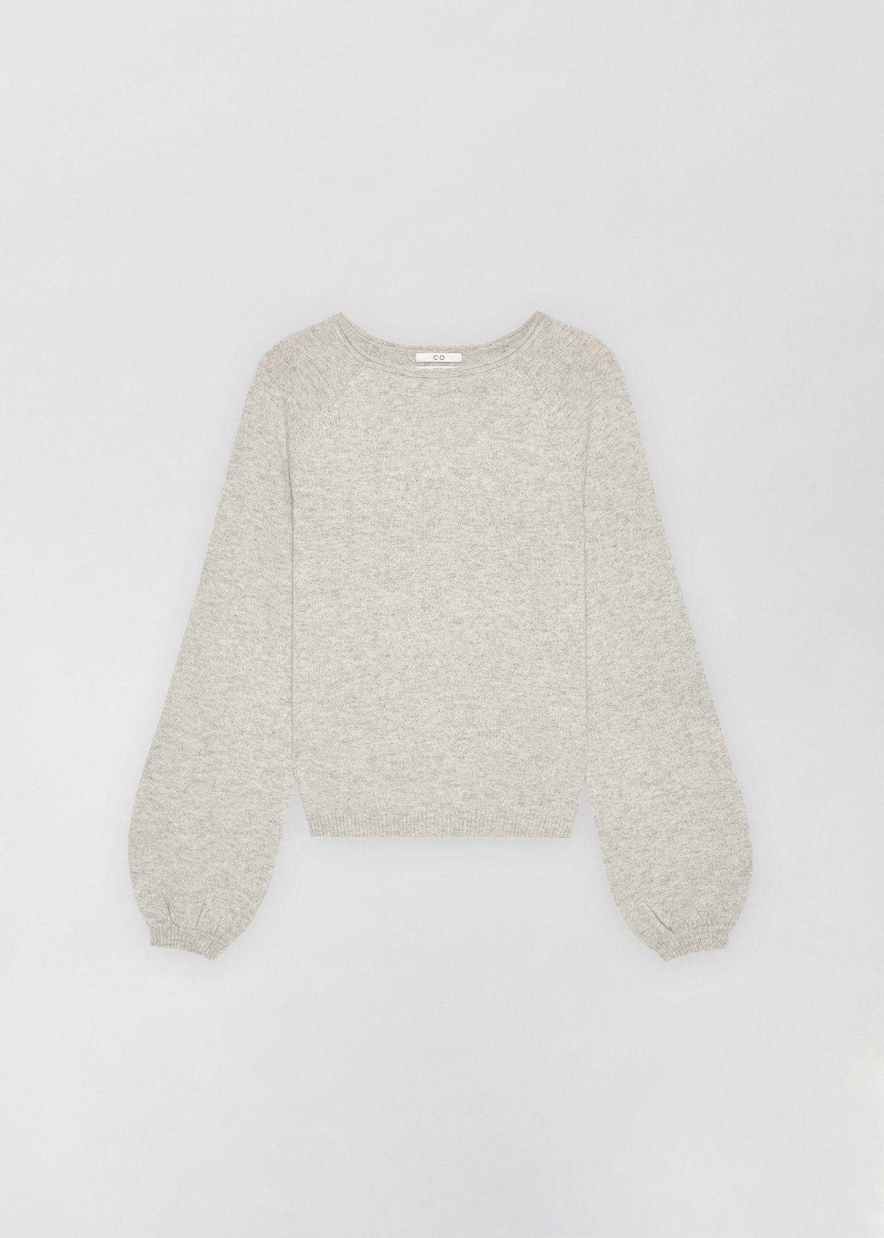 Raglan Peasant Sleeve Sweater - Sand Melange in Light Grey by Co Collections