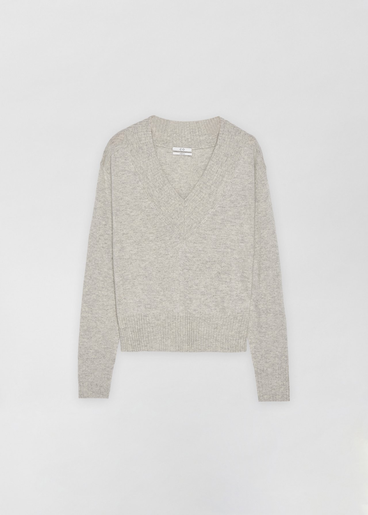 Cashmere V-Neck Sweater - Black in Light Grey by Co Collections