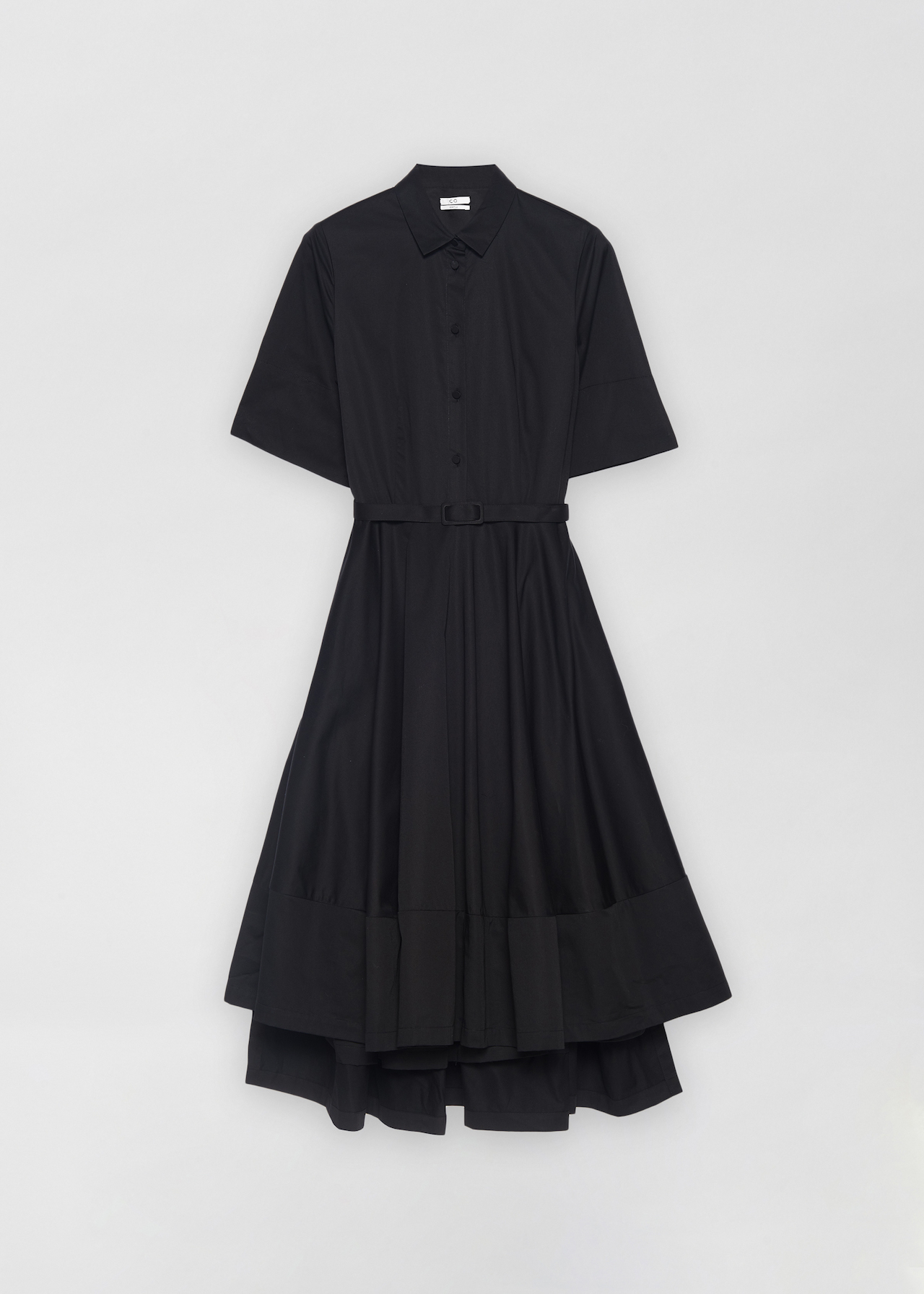 Short Sleeve Flared Dress - Navy in Black by Co Collections