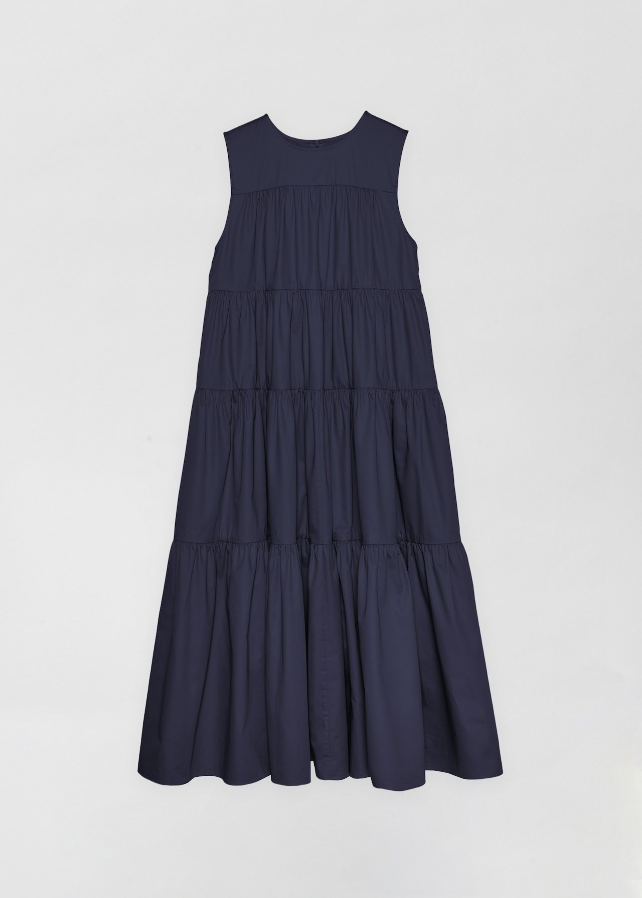 Sleeveless Tiered Dress - White in Navy by Co Collections