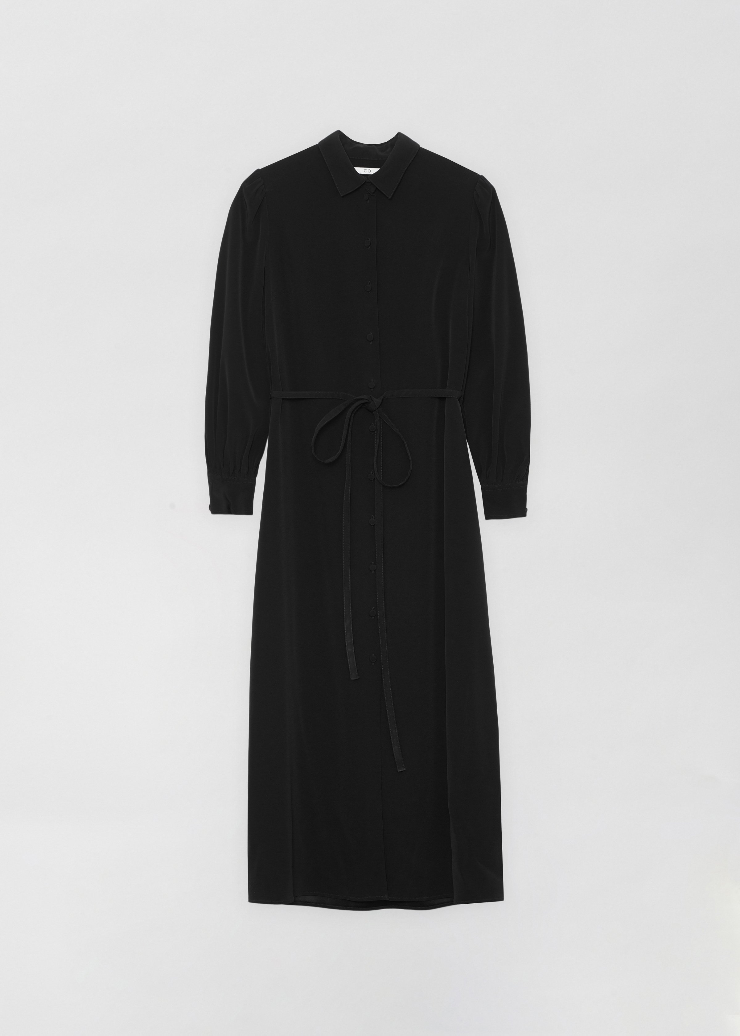 Long Shirt Dress - Ivory in Black by Co Collections