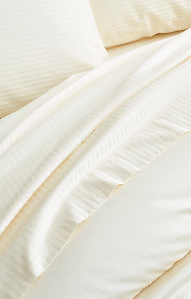 Ivory Striped Sheet Fabric Detail image