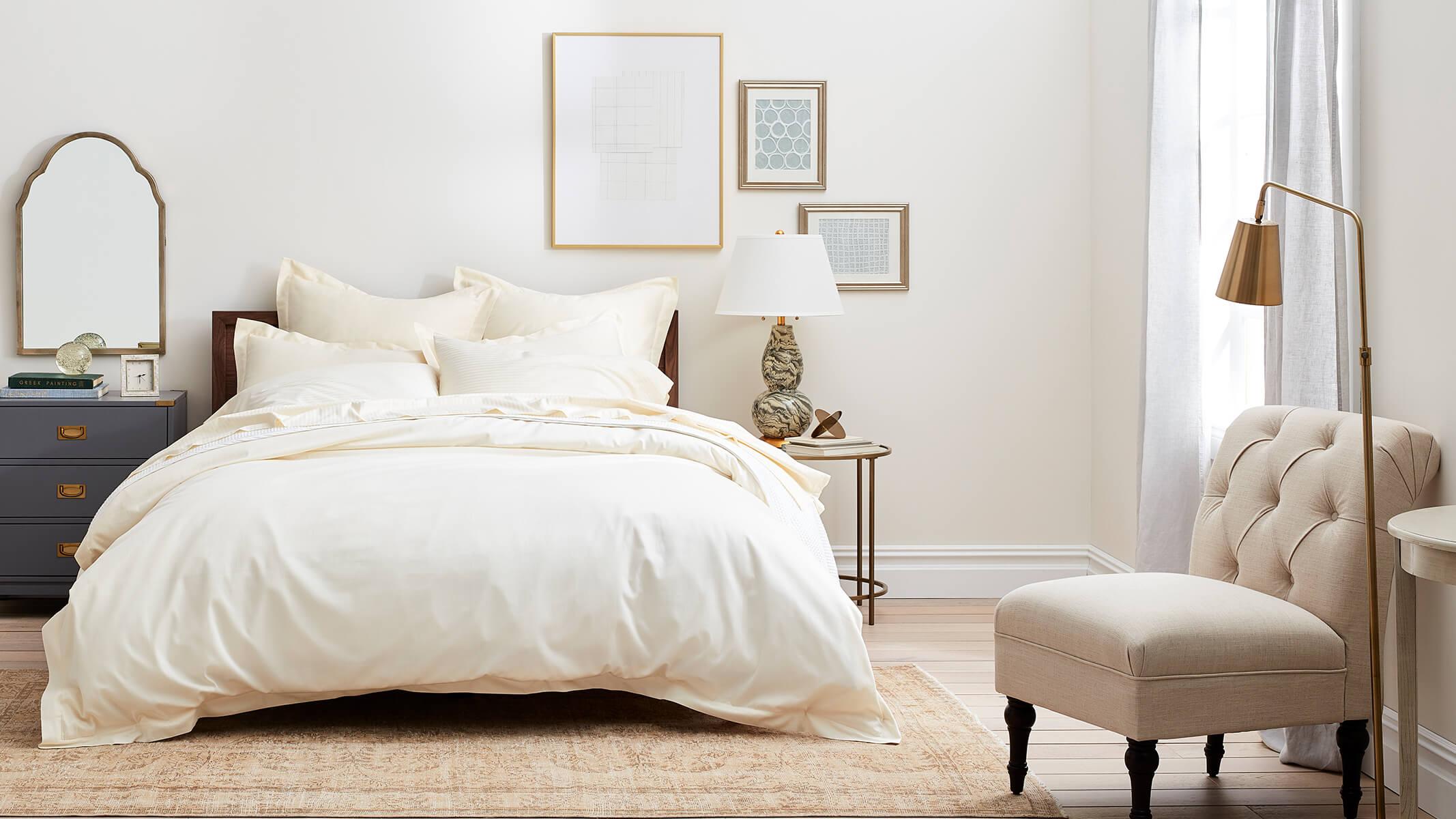 Bed Ivory Striped Sheet Set & Solid Hemmed Duvet Set image
