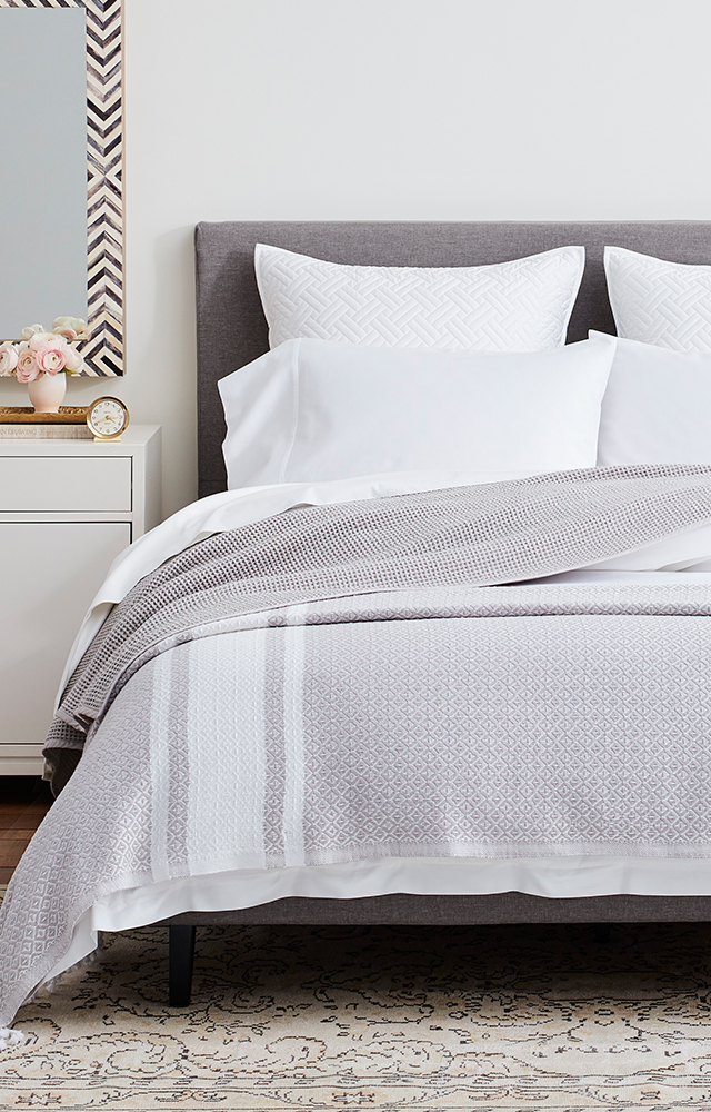 Bed with Pewter/White Adirondack Bed Blanket image