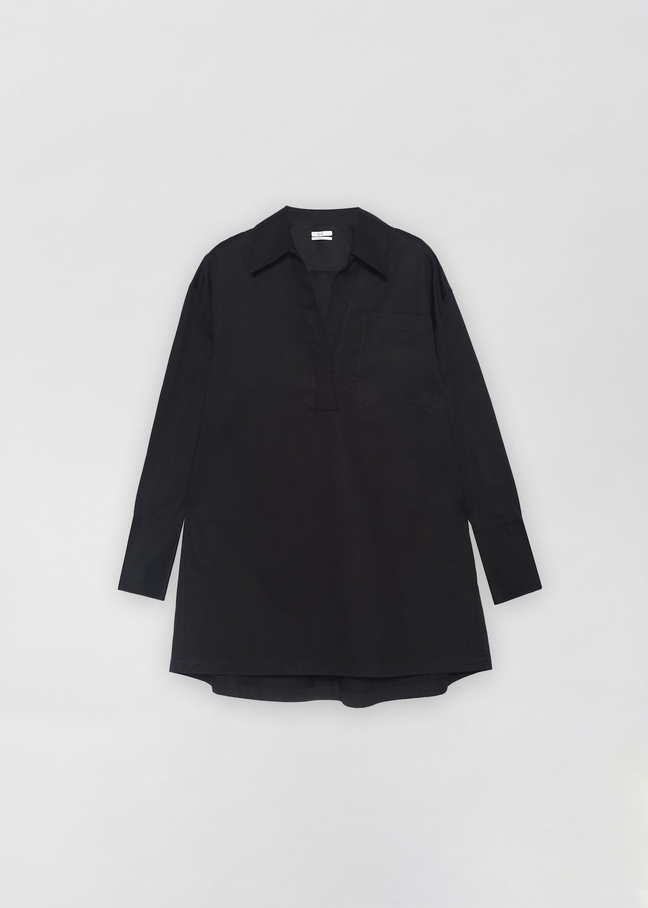 Half Placket Shirt in Cotton Poplin - Taupe in Black by Co Collections