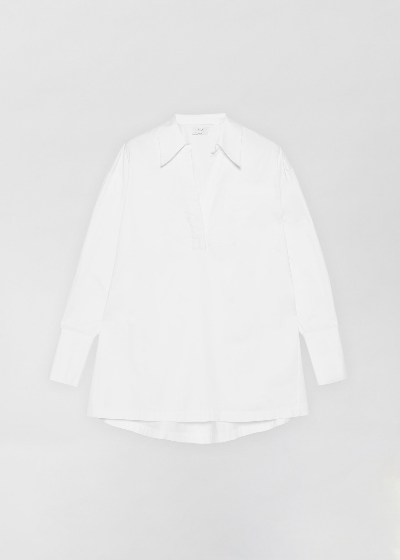Half Placket Shirt - Black in White by Co Collections