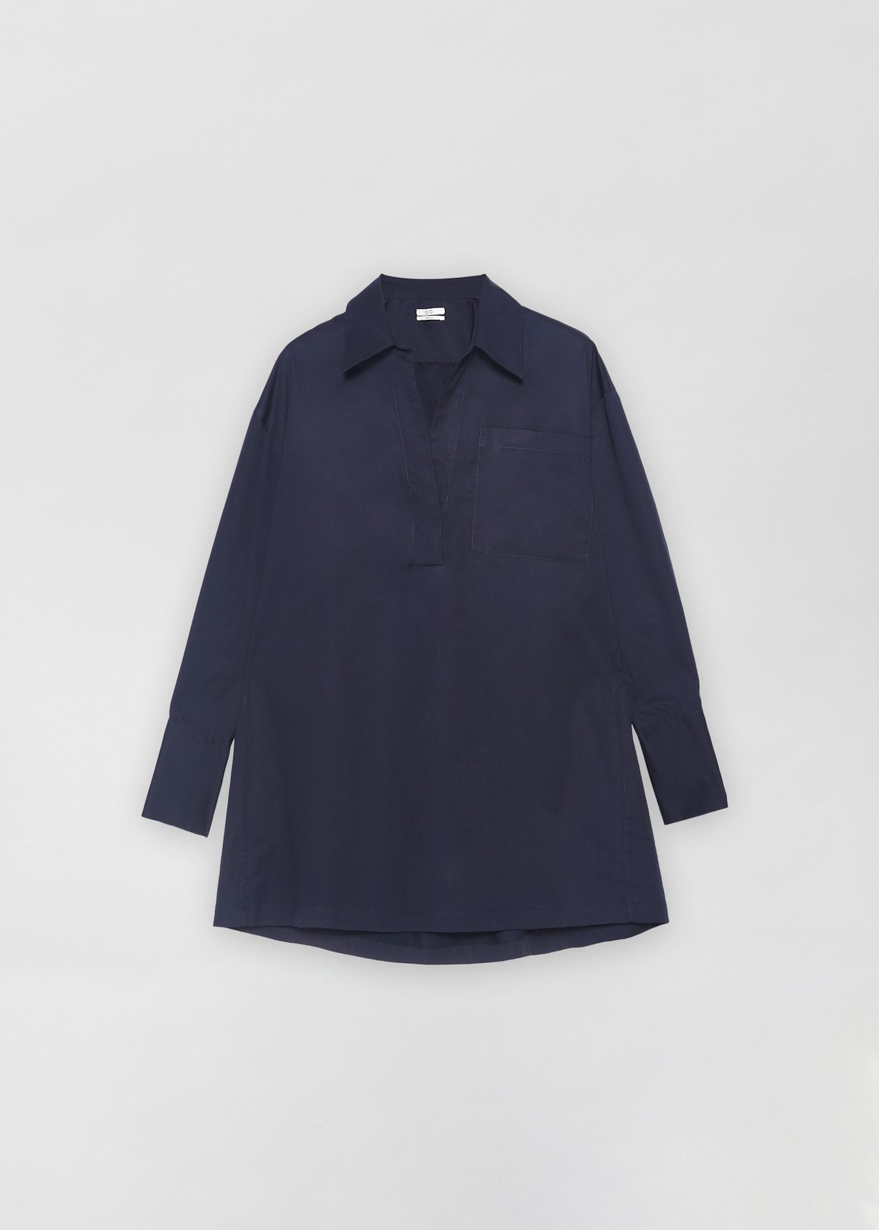 Half Placket Shirt - White in Navy by Co Collections