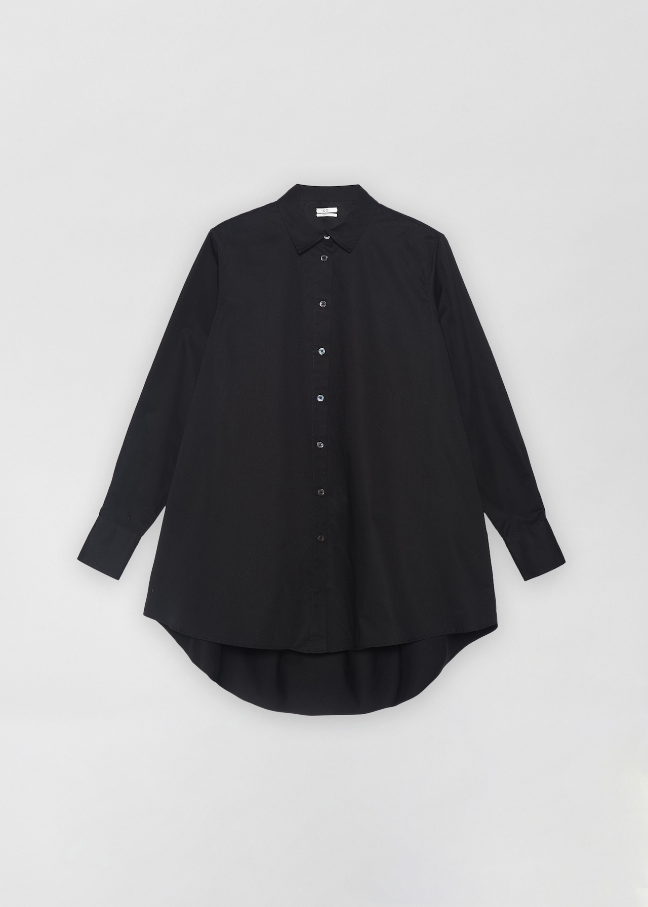 A-Line Button Down Shirt - White in Black by Co Collections
