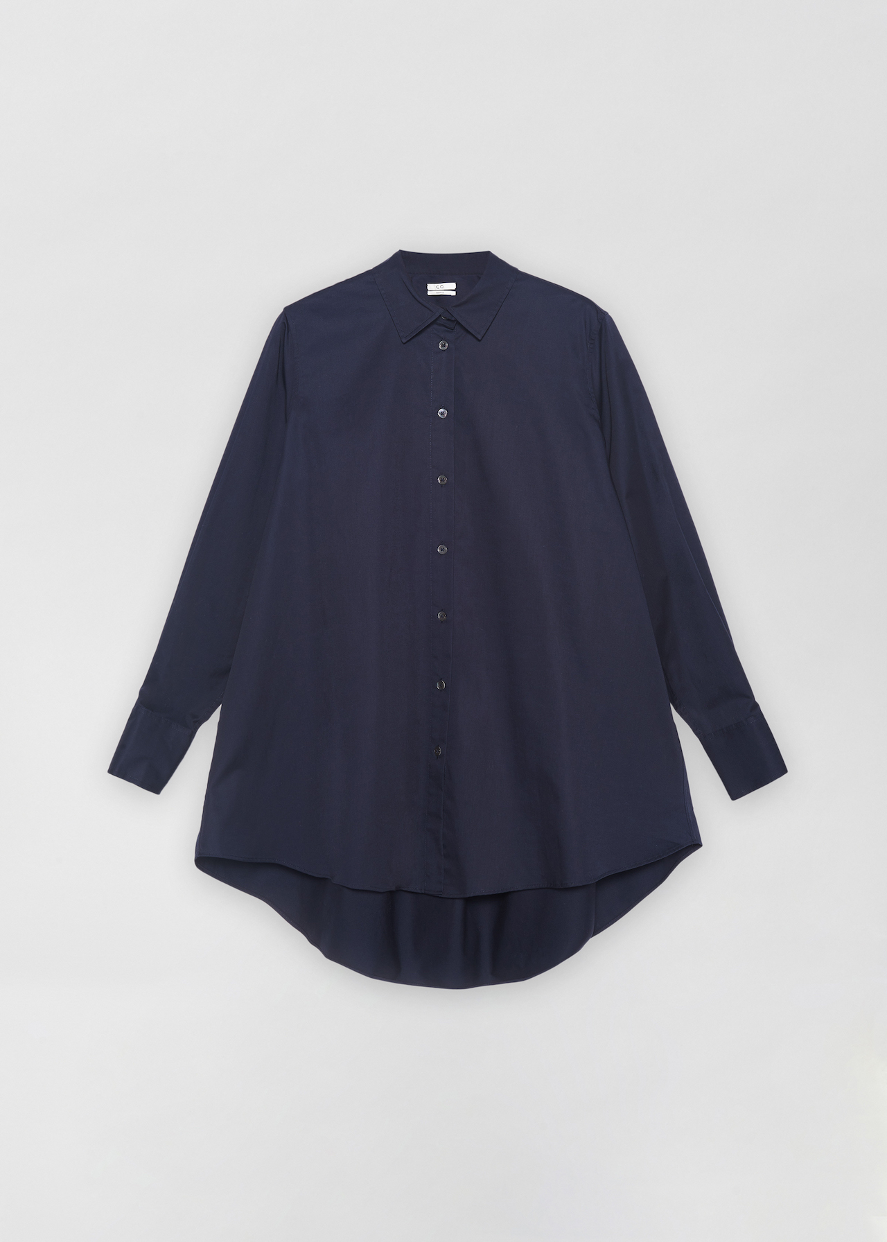 A-Line Button Down Shirt - White in Navy by Co Collections