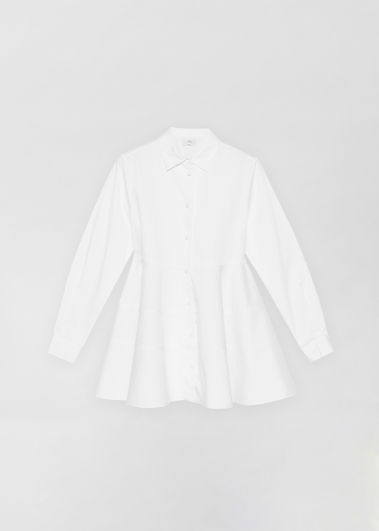 Tiered Button Down Shirt - Black in White by Co Collections