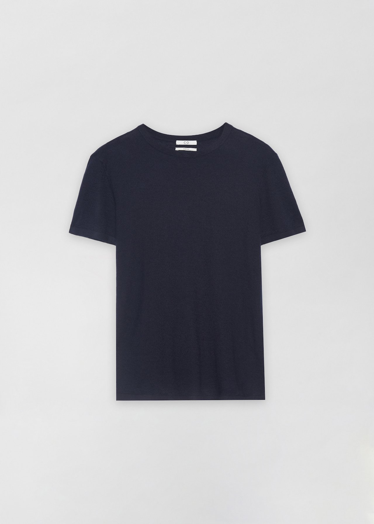 Cashmere T-Shirt - Grey in Navy by Co Collections