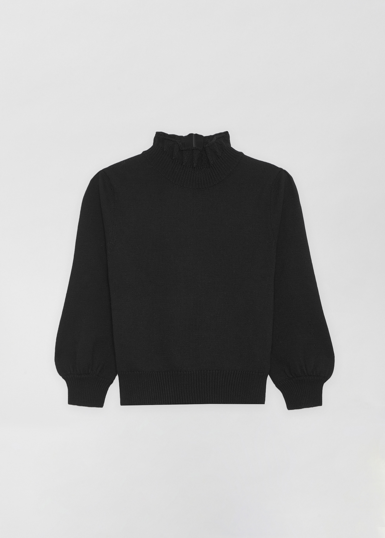 Ruffled Merino Wool Turtleneck - Navy in Black by Co Collections