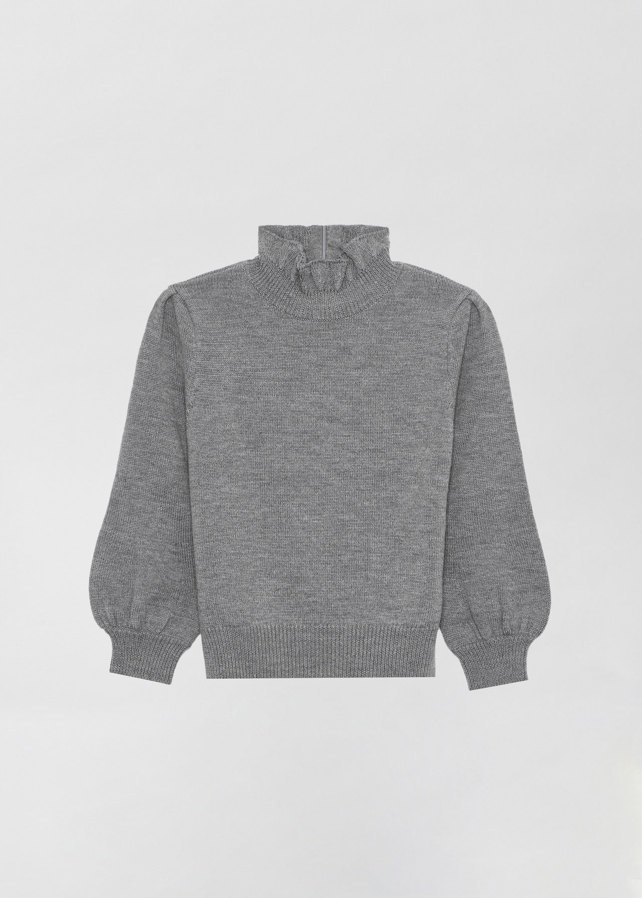 Ruffled Merino Wool Turtleneck - Navy in Grey by Co Collections