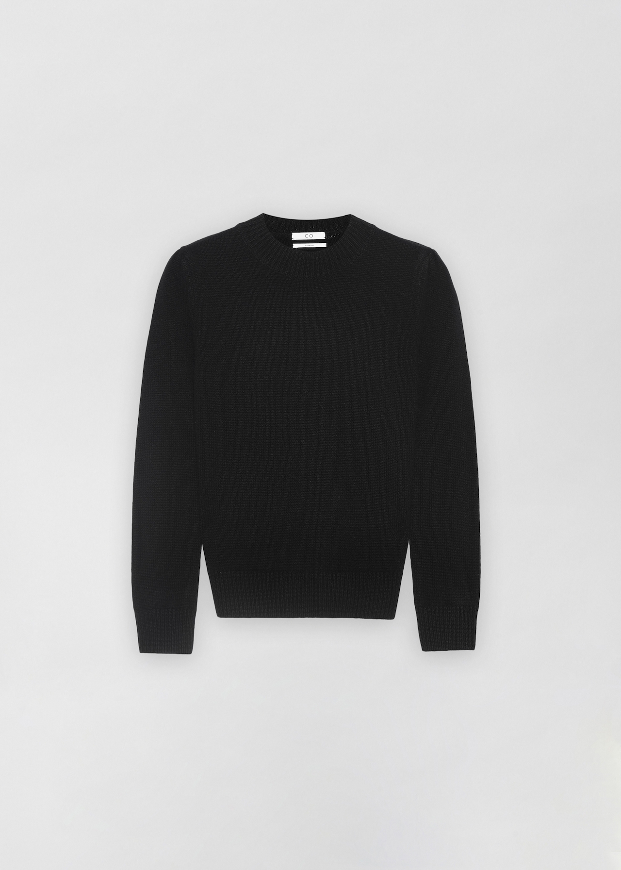Ruched Cashmere Crew Neck Sweater - Light Grey in Black by Co Collections