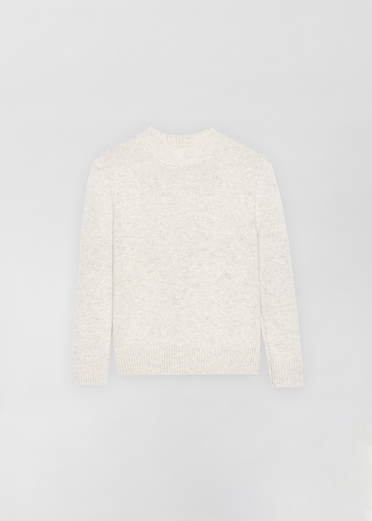 Ruched Cashmere Crew Neck Sweater - Light Grey in Chalk by Co Collections