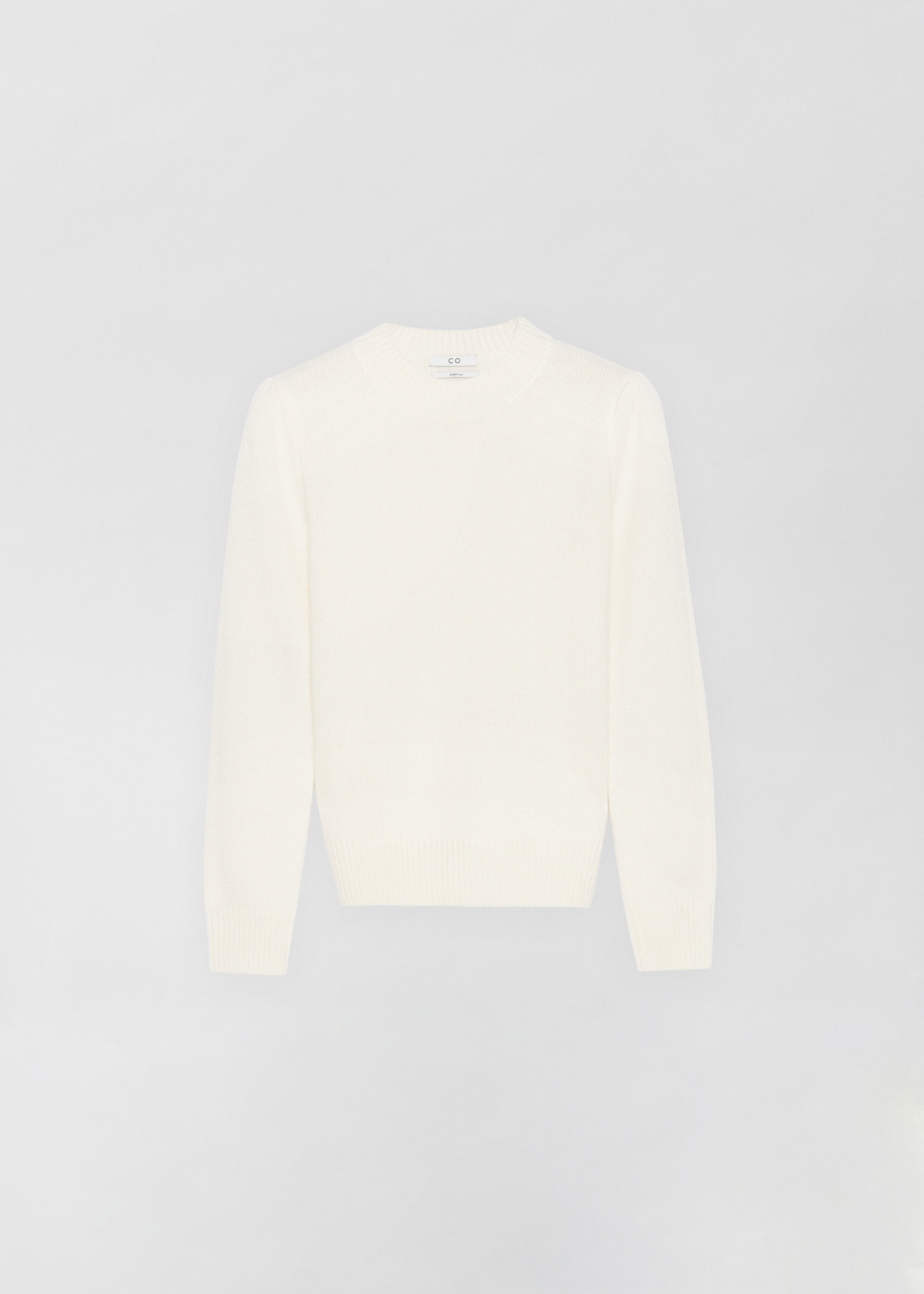 Ruched Cashmere Crew Neck Sweater - Light Grey in Ivory by Co Collections