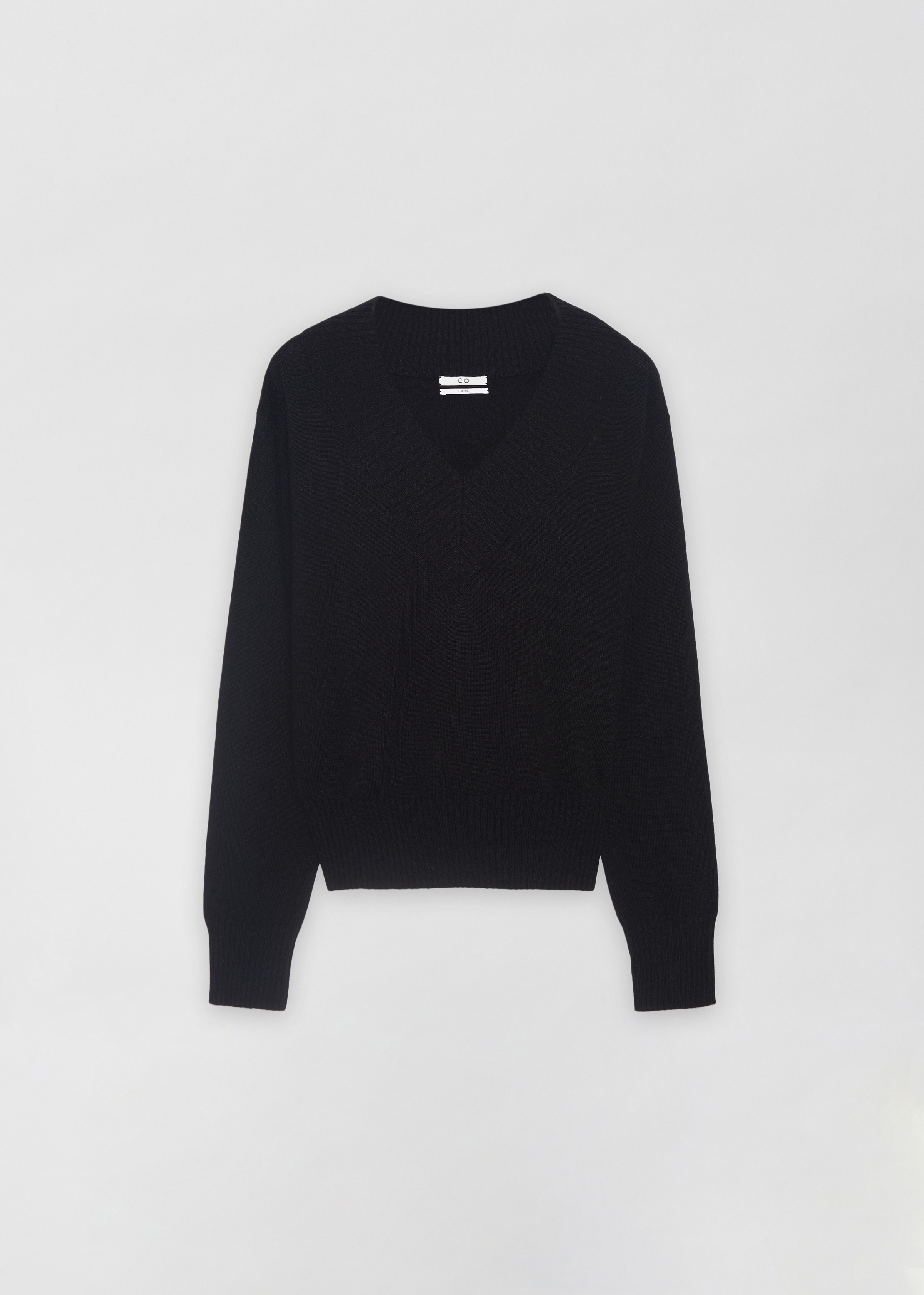 Cashmere V-Neck Sweater in Black by Co Collections