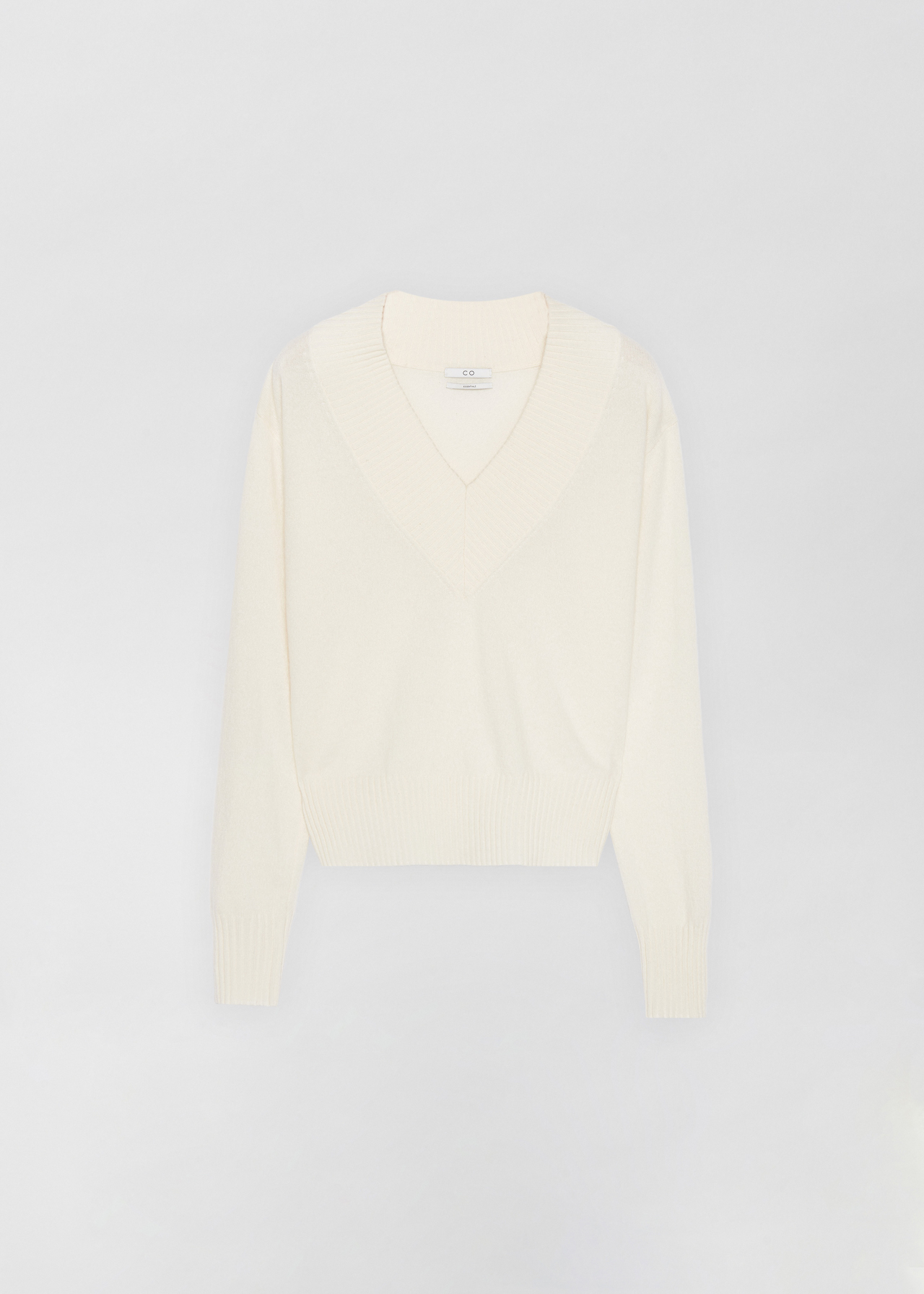 Cashmere V-Neck Sweater - Black in Ivory by Co Collections