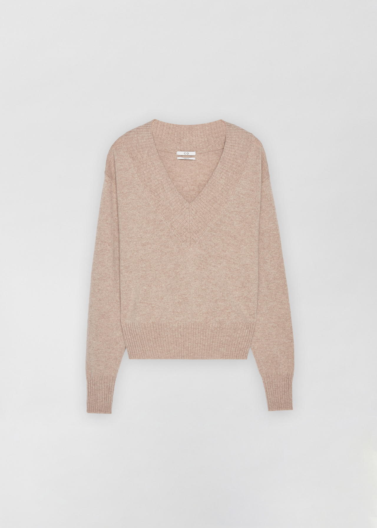 Cashmere V-Neck Sweater - Light Grey in Sand Melange by Co Collections