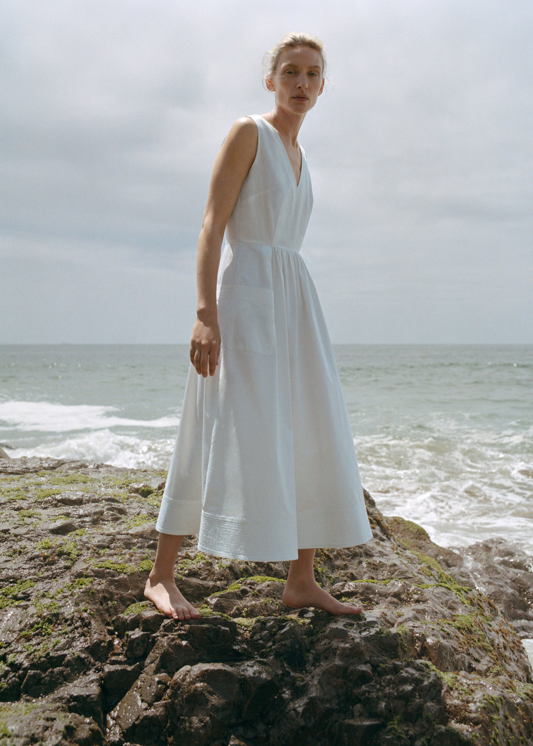 Sleeveless Trapunto Hem Dress - White - by Zoe Gherter for Co Collections