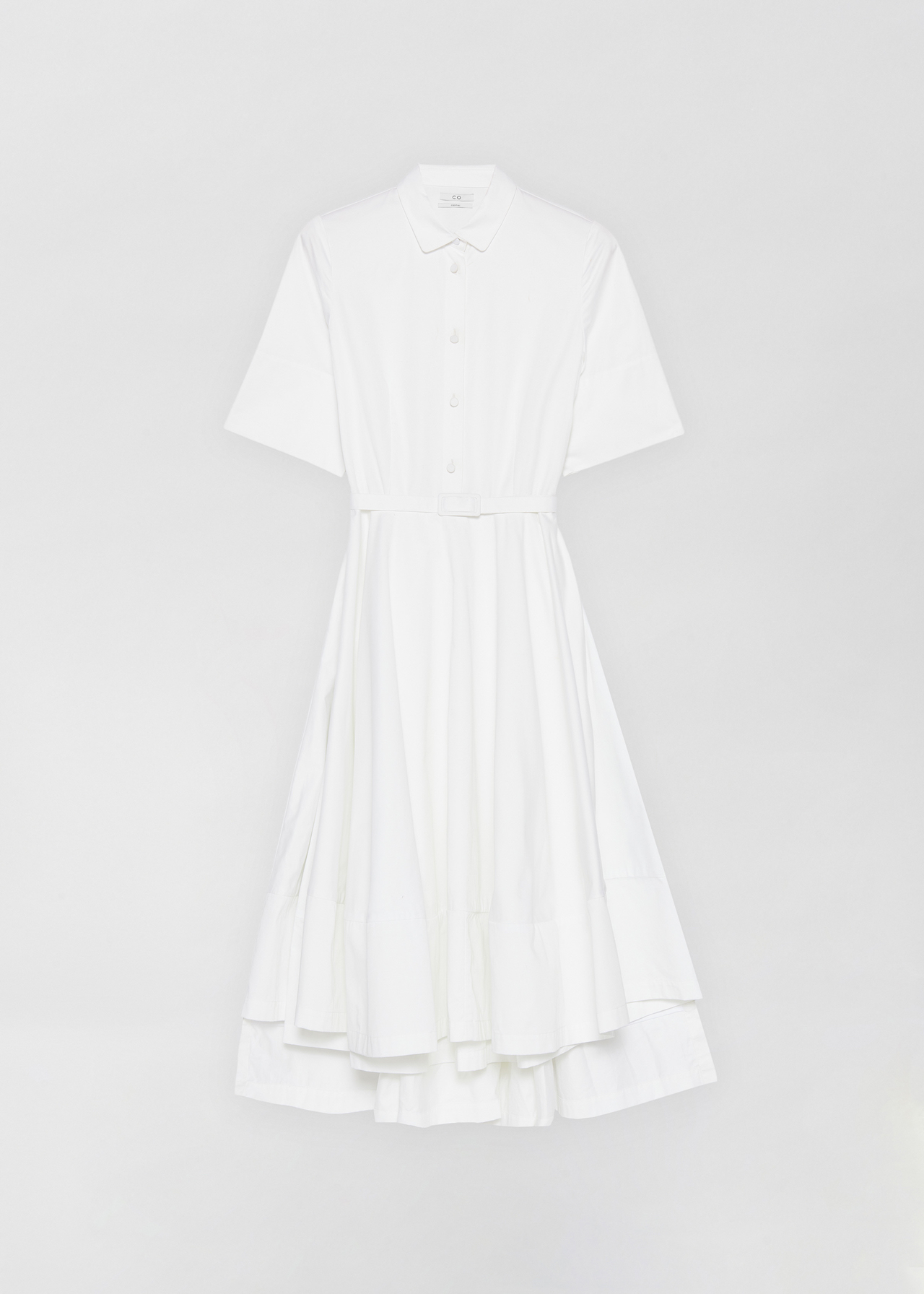 Short Sleeve Flared Dress - Navy in White by Co Collections