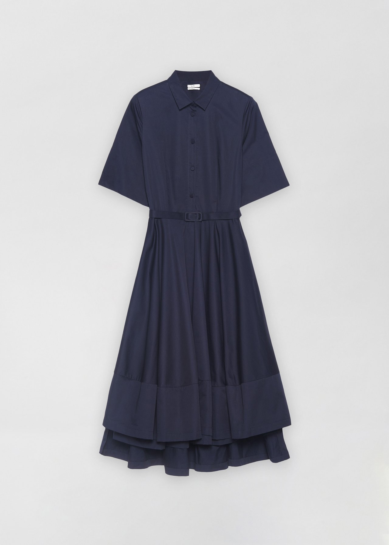 Short Sleeve Flared Dress - Taupe in Navy by Co Collections