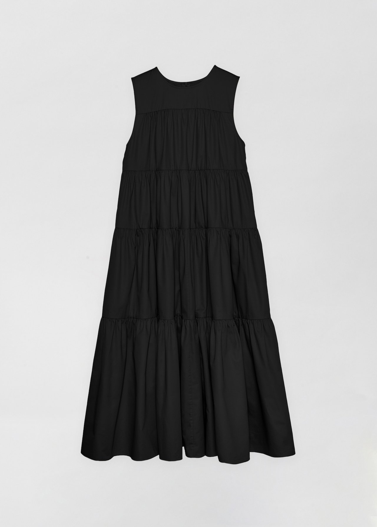 Sleeveless Tiered Dress - White in Black by Co Collections