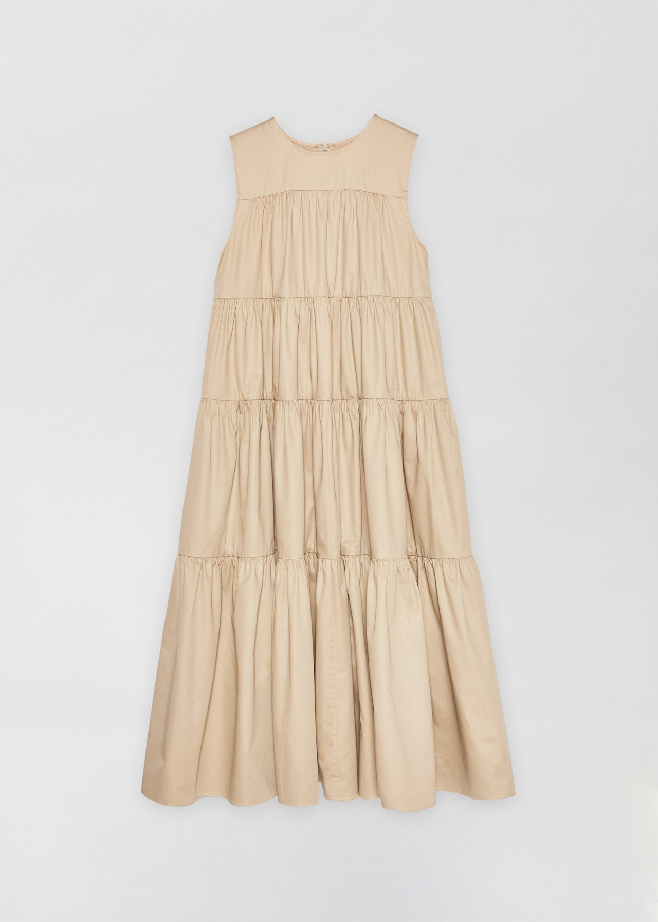 Sleeveless Tiered Dress - White in Taupe by Co Collections