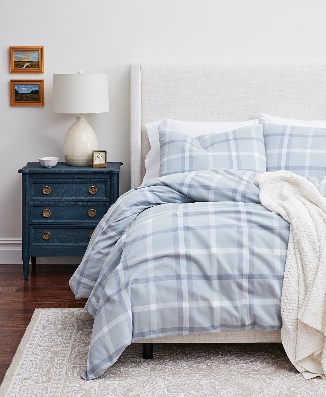 Bed with Shore Modern Plaid Flannel Duvet Set image