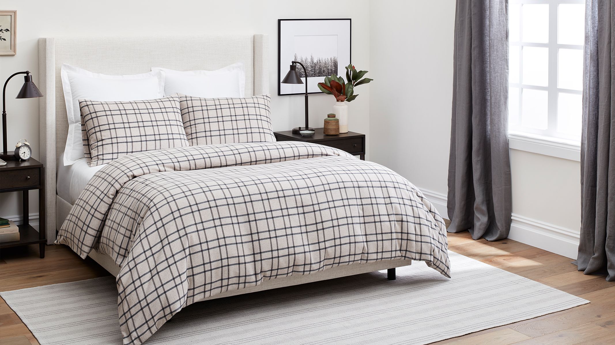 Bed with Limited Edition Oatmeal Windowpane Flannel Duvet image
