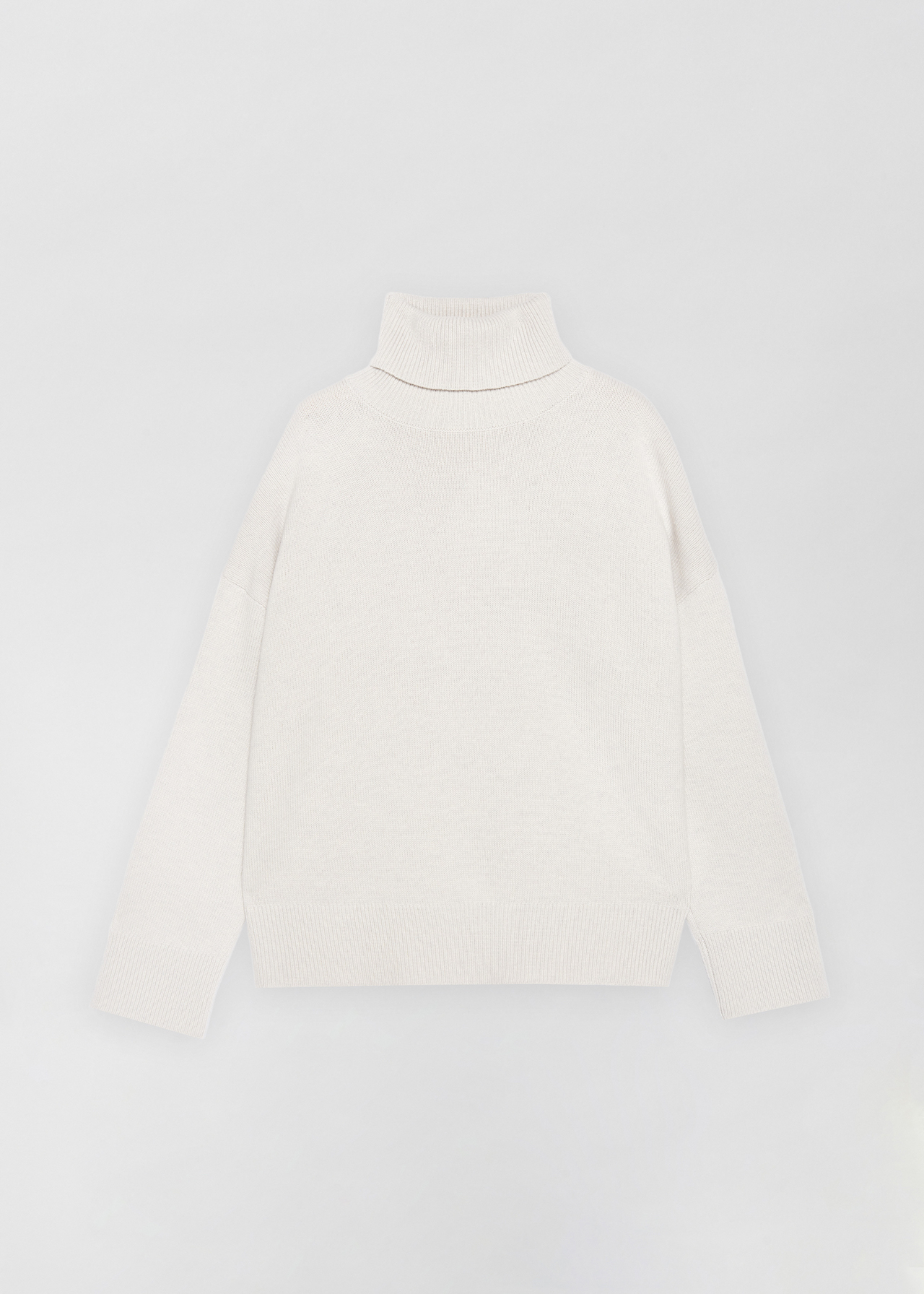 Boxy Turtleneck Sweater - Ivory in Dove Grey by Co Collections
