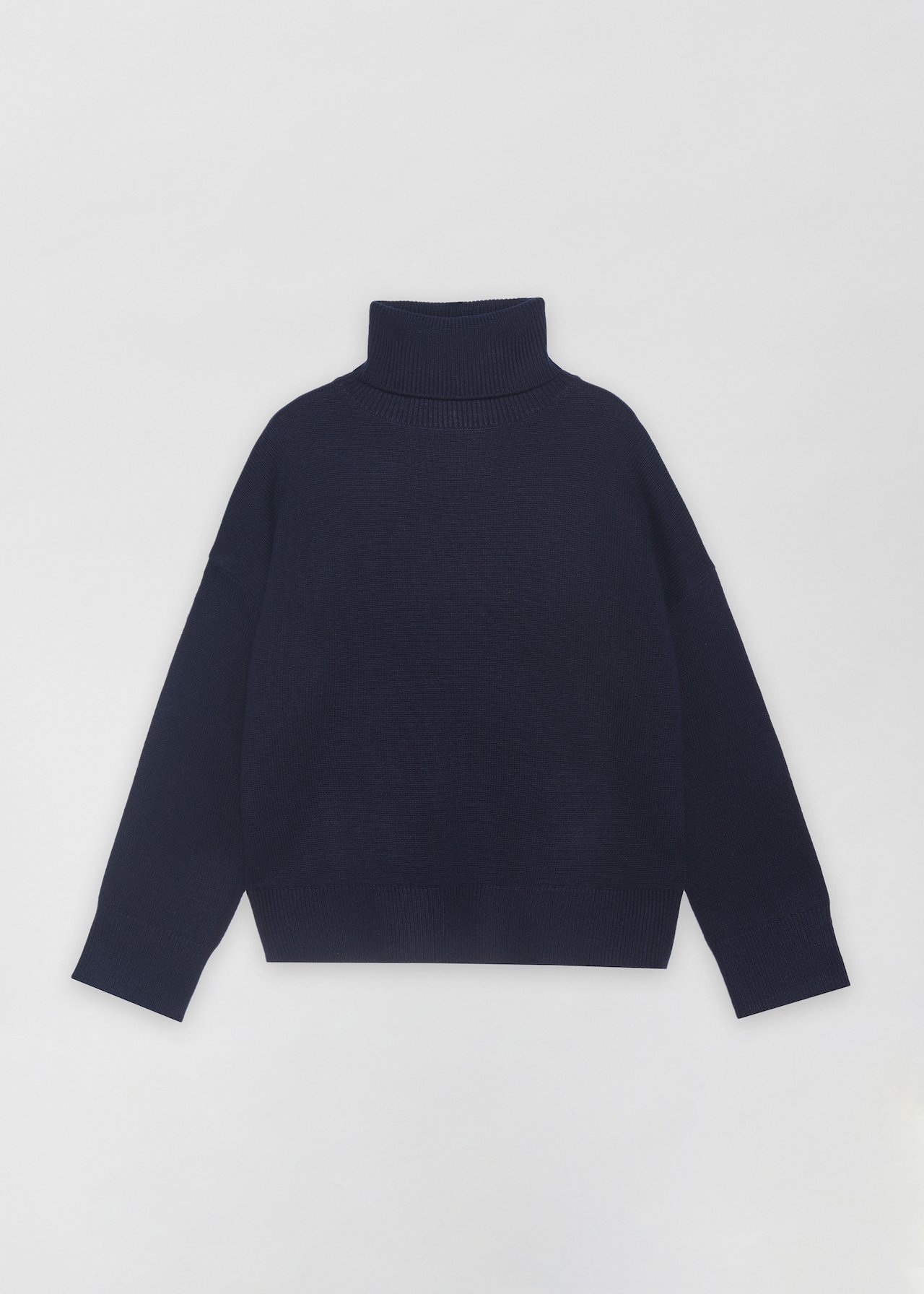 Boxy Turtleneck Sweater - Ivory in Navy by Co Collections