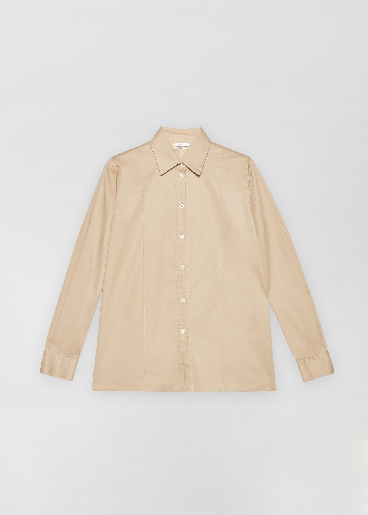 Tucked Placket Button Down Shirt - White in Taupe by Co Collections