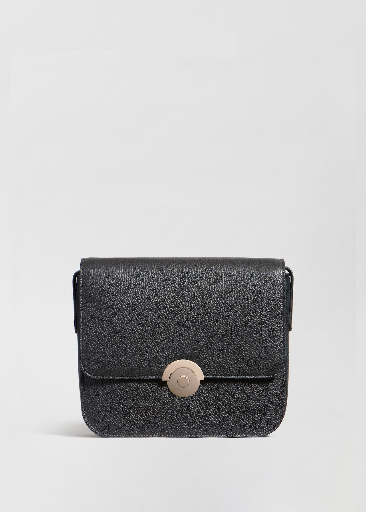 Box Bag in Pebbled Leather - Olive in Black by Co Collections