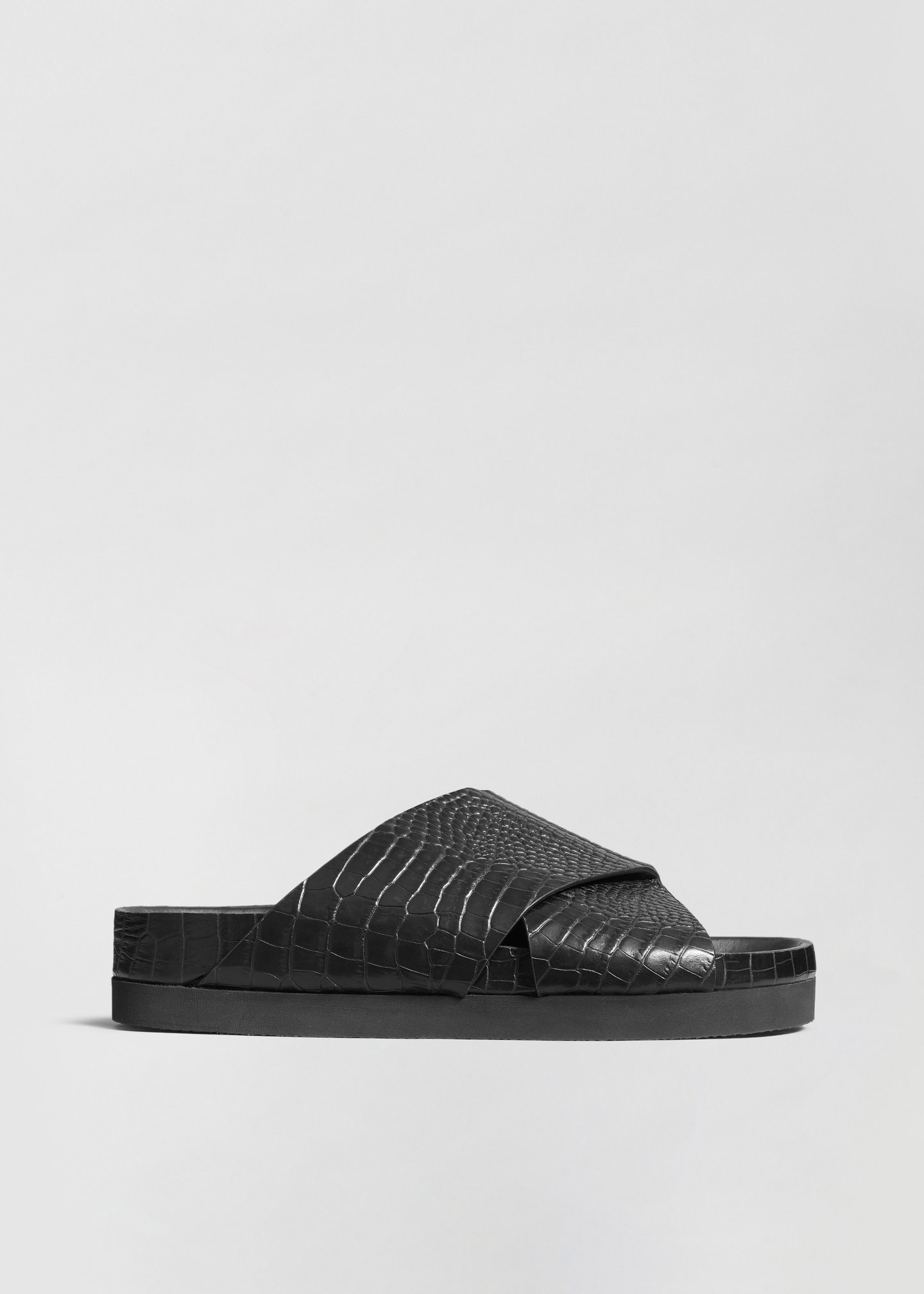 Slide Sandal in Embossed Leather - Dark Brown in Black Croc by Co Collections