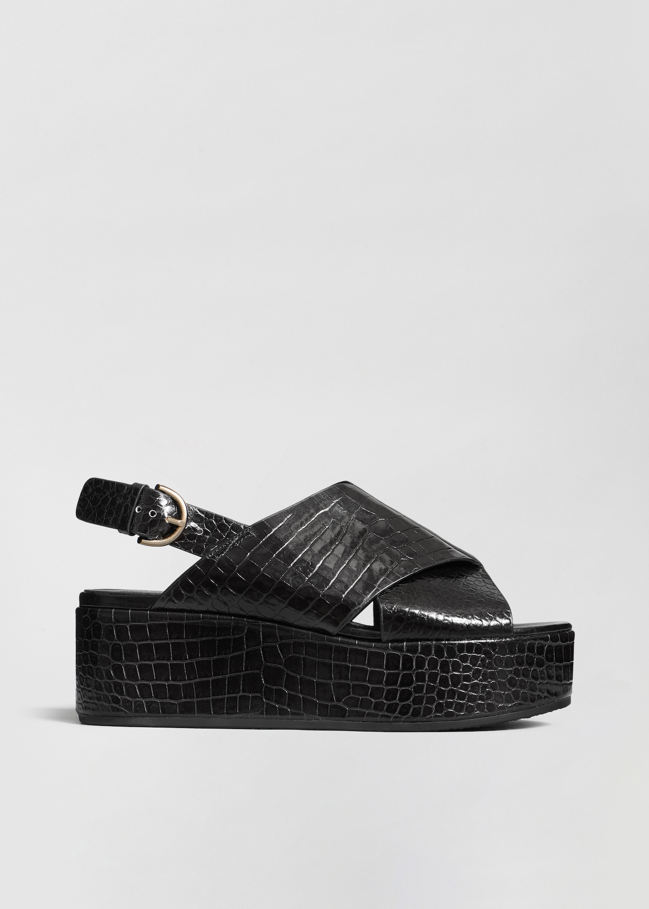 Platform Sandal in Embossed Leather - Dark Brown in Black Croc by Co Collections