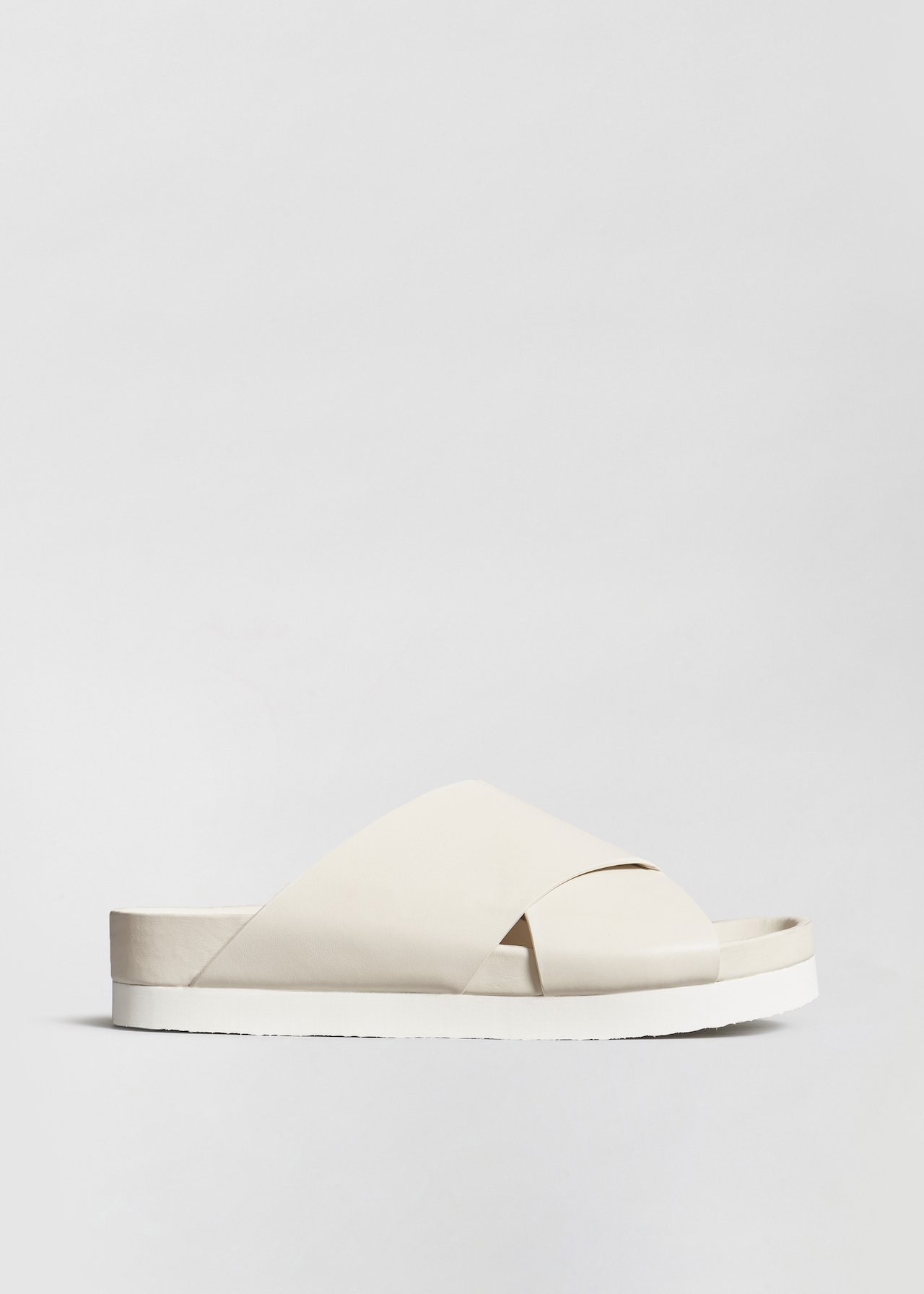Slide Sandal in Smooth Leather - Ivory - Co Collections