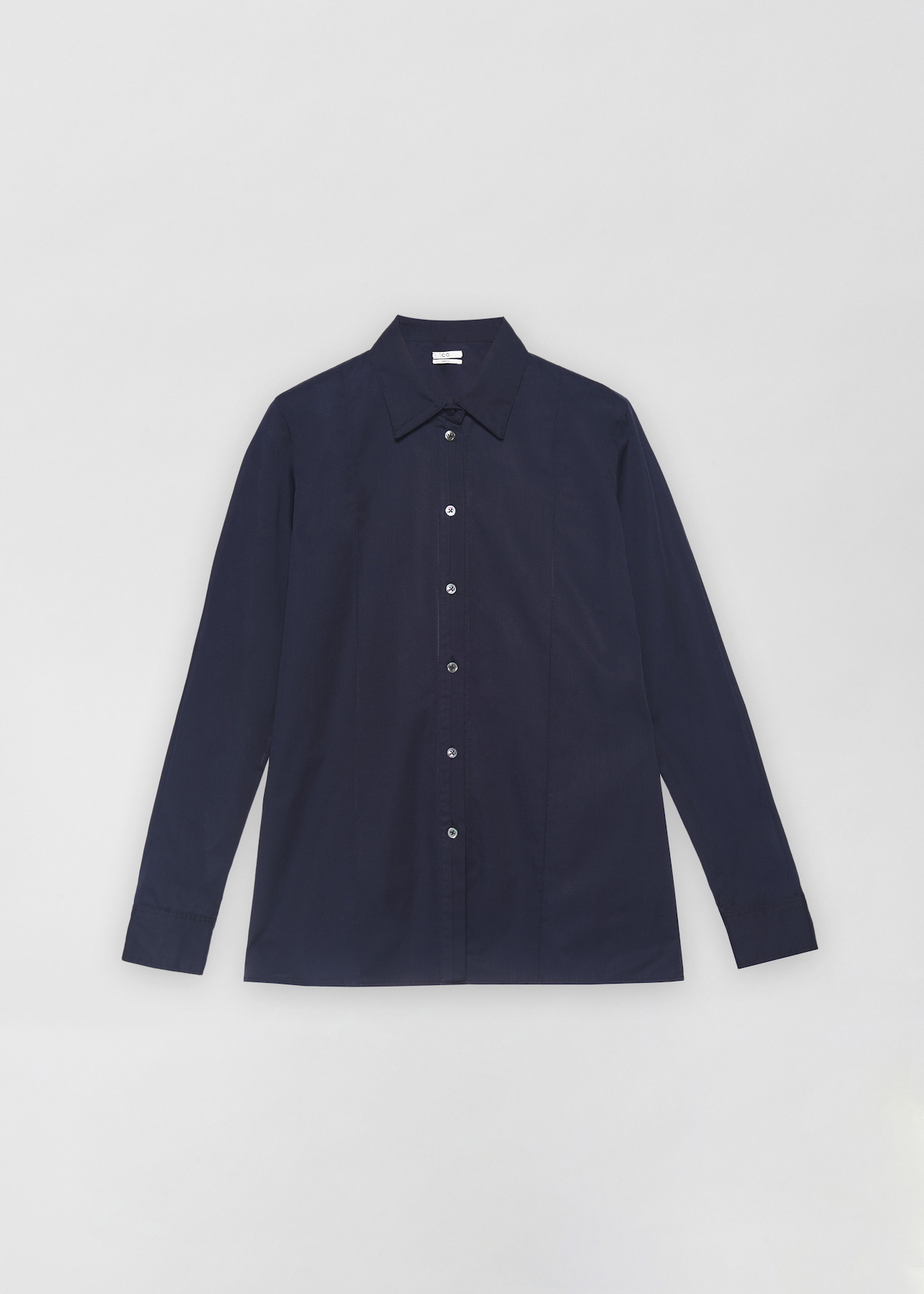Tucked Placket Button Down Shirt - Black in Navy by Co Collections