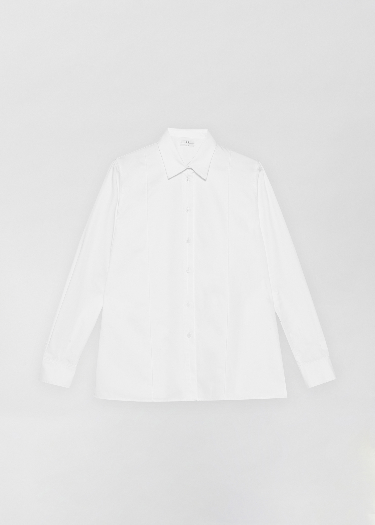 Tucked Placket Button Down Shirt - Black in White by Co Collections