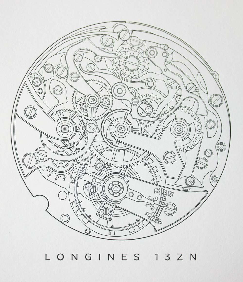 Longines 13ZN Letterpress Print