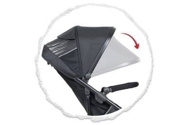 expansive UPF50+ sun hood protection with a peek-a-boo