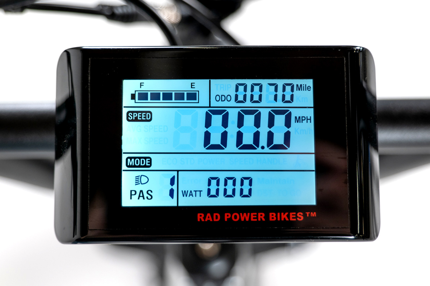 RadRover Electric Fat Bike Version 5 display