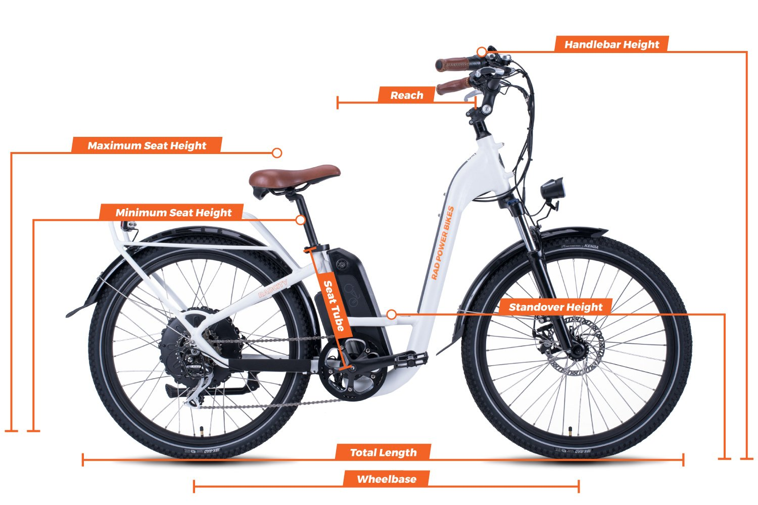 Geometry chart for the RadCity Step-Thru Electric Commuter Bike Version 3