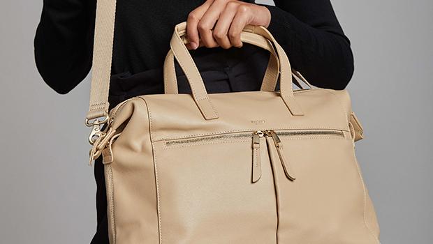"""KNOMO Audley Leather Laptop Handbag - 14"""" Lifestyle Image   knomo.com"""