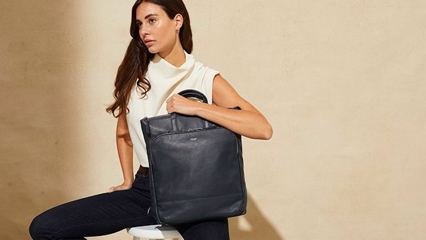 "KNOMO Harewood Leather Laptop Tote Backpack - 15"" Lifestyle Image 