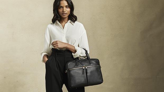 "KNOMO Hanover Leather Laptop Briefcase - 14"" Lifestyle Image | knomo.com"