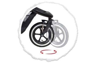 bloqueo de la rueda trasera o giro completo de 360° de la rueda delantera