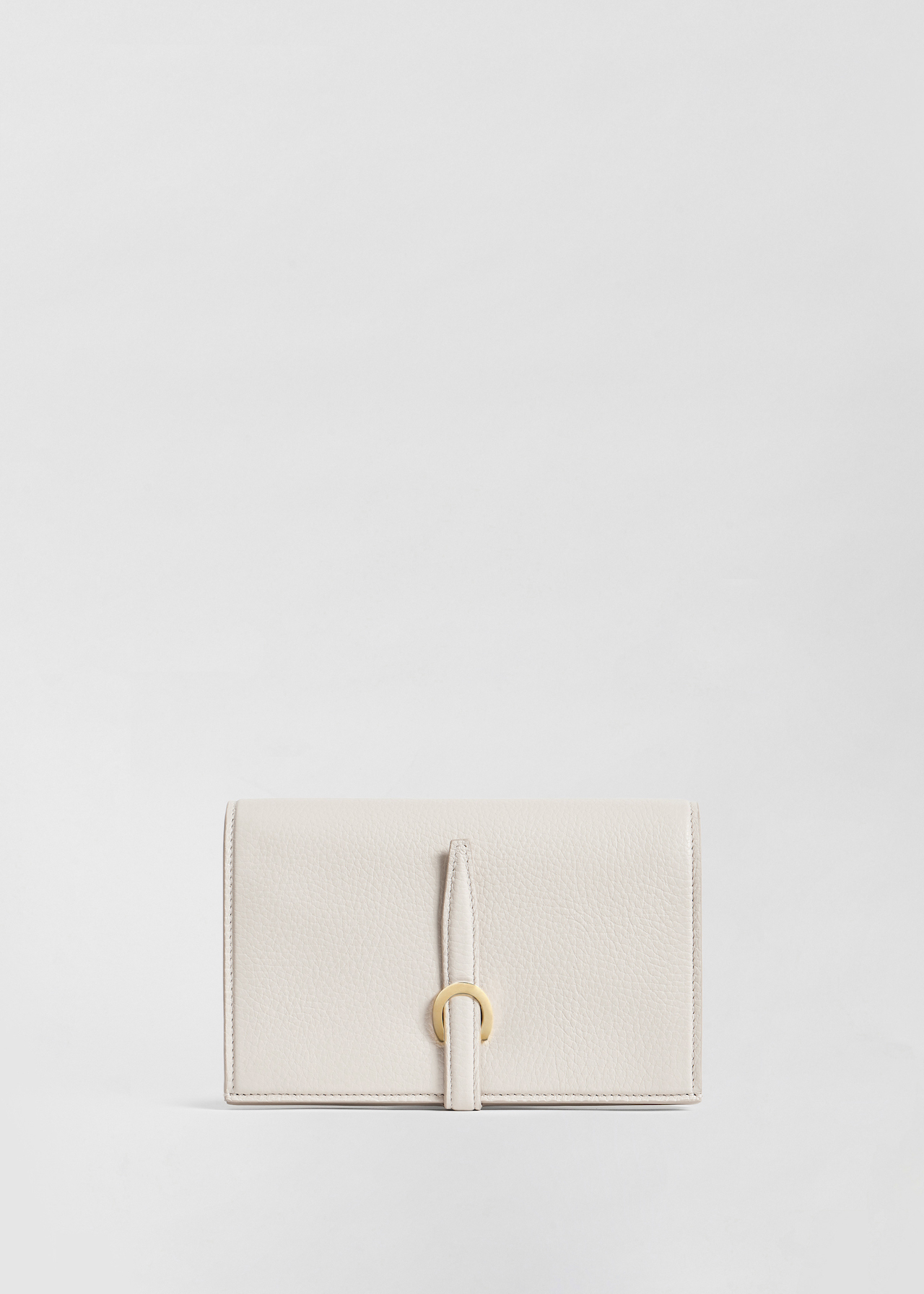 Strap Wallet in Pebbled Leather - Ivory - Co Collections
